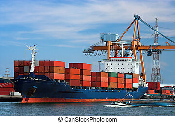 Docked container ship - Large container ship in a dock at...