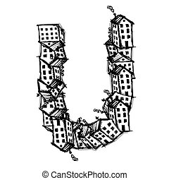 Letter U made from houses, vector alphabet design - Letter U...