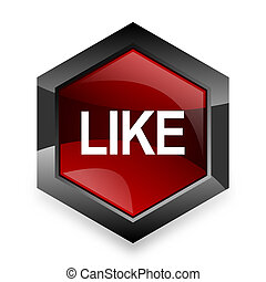 like red hexagon 3d modern design icon on white background