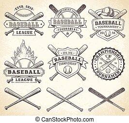 vendimia,  vector, beisball, Logotipos
