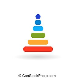 baby rainbow pyramid flat vector icon with shadow - baby...