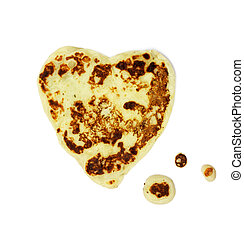 Heart Shaped Pancake Cooking Isolated