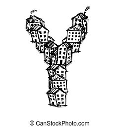 Letter Y made from houses, vector alphabet design - Letter Y...
