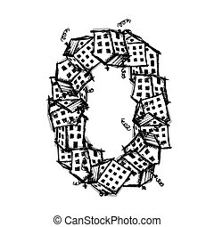 Number zero made from houses, vector alphabet design -...