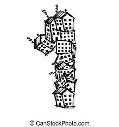Number one made from houses, vector alphabet design - Number...