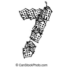 Number seven made from houses, vector alphabet design -...