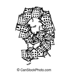 Number nine made from houses, vector alphabet design -...