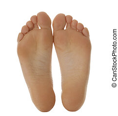 bare feet - adult size feet isolated on white background
