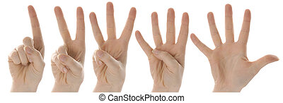 one two three four five hands - counting hands from one to...