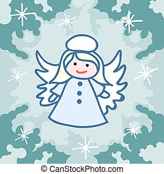 Christmas angel doodles - Christmas card template. Christmas...