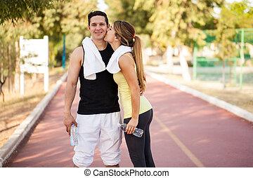 novia, Atleta, el suyo, beso, obteniendo