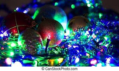 Christmas tree with Colorful bokeh and christmas lights