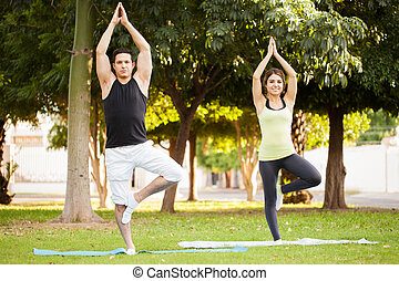 Couple doing the tree yoga pose - Full length view of a...