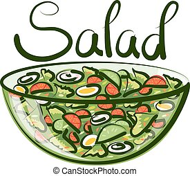 Vector Green Salad - vector salad with calligraphic...