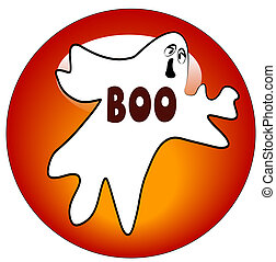 charming halloween ghost button or icon - illustration