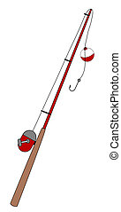 fishing rod with bobber and hook - illustration