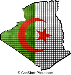 Algeria map with flag inside