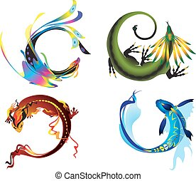 Four elements symbols - Earth, Air, Water and Fire elements...
