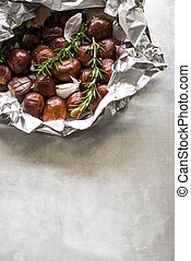Chestnuts ready for roasting