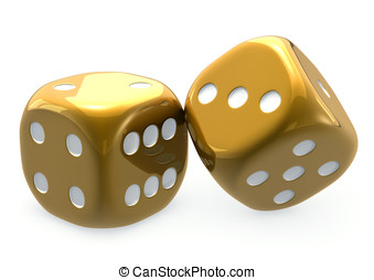 Golden Dice 2 - Two golden dice, large, isolated, white...