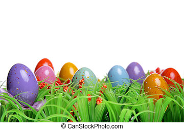 Easter Background - Colorful Easter eggs on the grass...