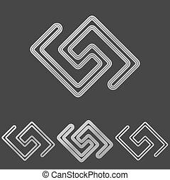Silver line tech logo design set - Silver metal line tech...