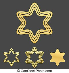 Golden line hexagram logo design set - Golden line hexagram...