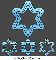 Blue line star logo design set - Blue line star symbol logo...