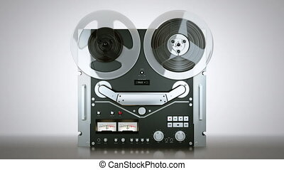 Reel tape-recorder while playing a - Old reel tape recorder...