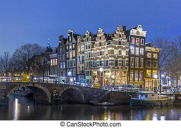 Nightscape, cidade, centro, Amsterdão,
