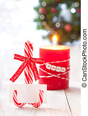 Christmas place setting - Empty blank name card on candy...
