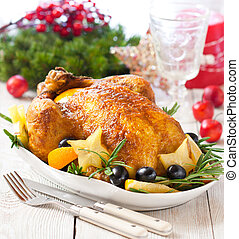 Christmas place setting - Whole roasted orange chicken with...