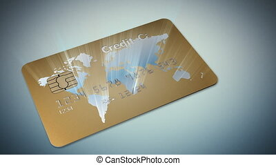 Money: credit card on blue backgrou