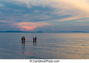 beautiful sunset - DONSOL, PHILIPPINES - MAY 31, 2015:...