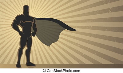 Superhero Background Loop - Animation of superhero over...