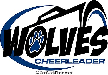 wolves cheerleader team design with megaphone and paw print