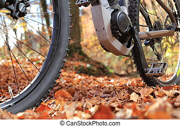 Closeup of E-Mountain Bike with motor and gearbox - A...