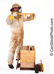 New Honeycomb - an isolated beekeeper holding up a frame...