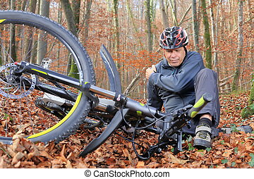 Senior after bicycle accident with shoulder injury - A...