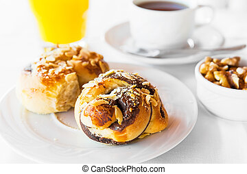 Breakfast with cake and coffee