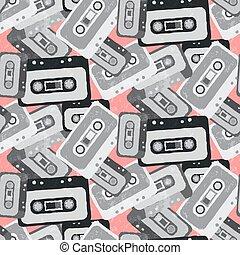 Seamless mix tape pattern 80s style