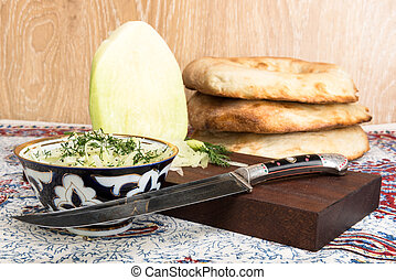 Asian radish and old oriental knife - Asian radish Lobo and...