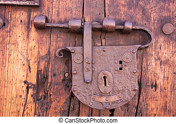 Latch or lock old in a colonial house Bogotaacute;, Colombia...