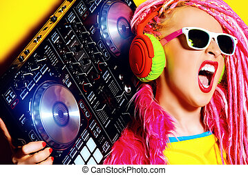 entertainment - Expressive modern DJ girl wearing bright...