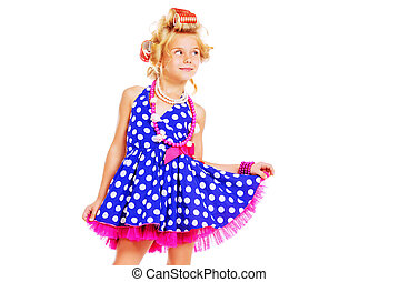 funny pinup - Funny little girl in her mothers hair curlers...
