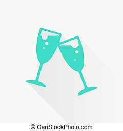 Vector stemware icon - Vector green stemware icon on white...