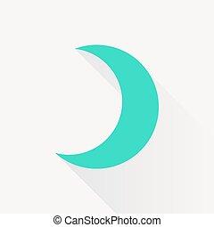 Vector moon icon - Vector green moon icon on white...