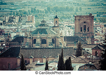 Cathedral and city centre seen from the castle, Granada,...
