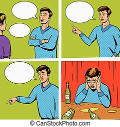 Comic strip with debate of two persons vector