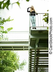 Mad girl committing suicide on the viaduct